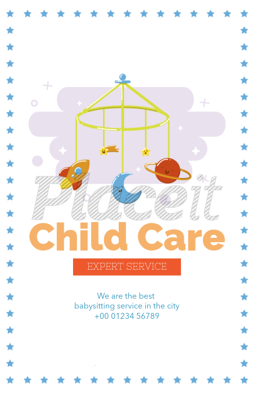 Placeit Child Care Flyer Maker With Baby Mobile