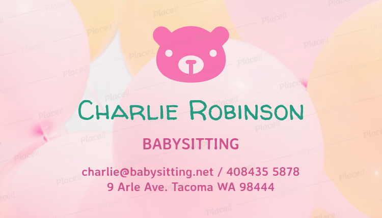 business card maker for babysitter with blurred background 256aforeground image