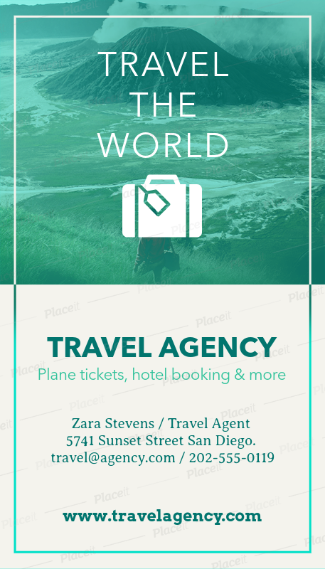 Placeit Business Card Template To Design Travel Agency Business Cards
