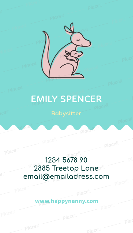 vertical babysitting business card maker a354foreground image