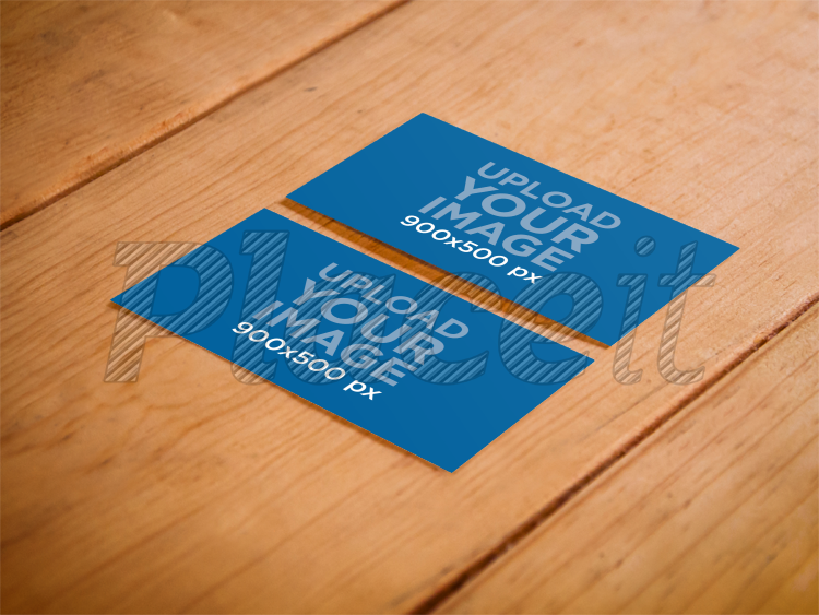 Placeit print mockup business cards on a wooden table business card both sidesforeground image colourmoves