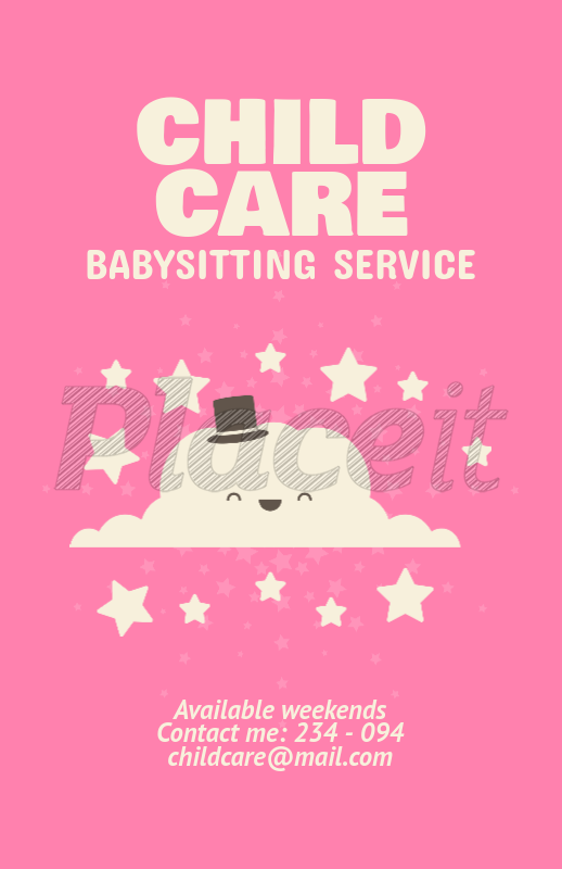 Placeit Flyer Maker For Babysitting Services With Cloud Clipart