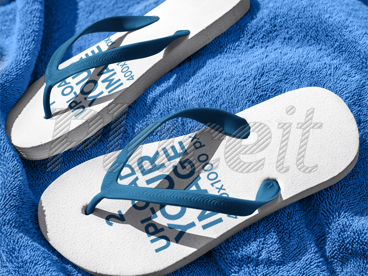 69e9d6165 Flip Flops Mockup Lying on a Blue Towel a15439Foreground Image