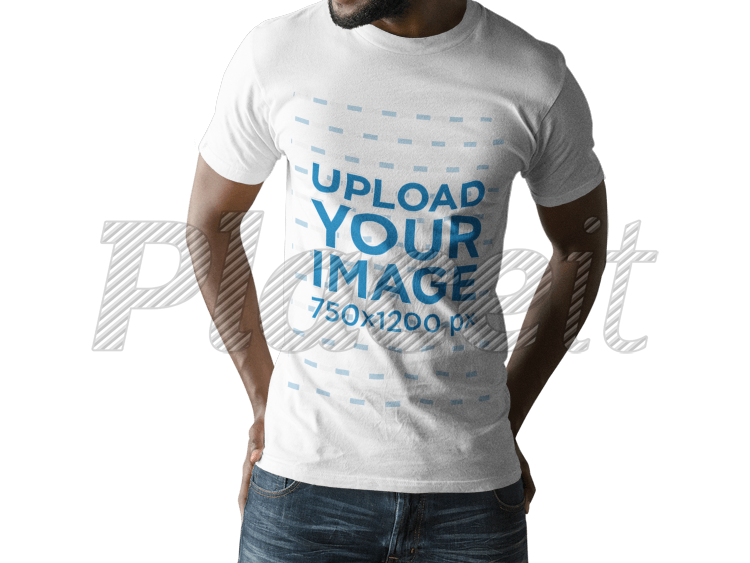 Placeit Young Black Man Wearing A T Shirt Mockup Against A