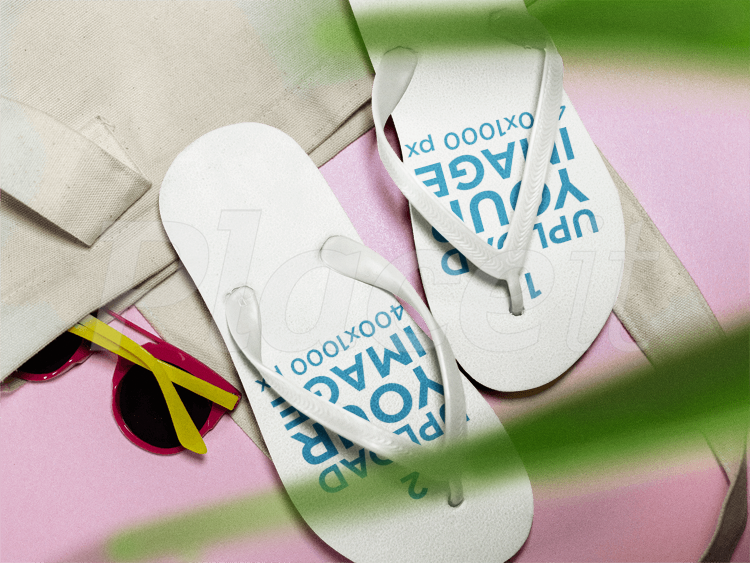 82274f708 Two Flip Flops Mockup Lying on a Pink Surface Near a White Towel.  7 or Free  ...