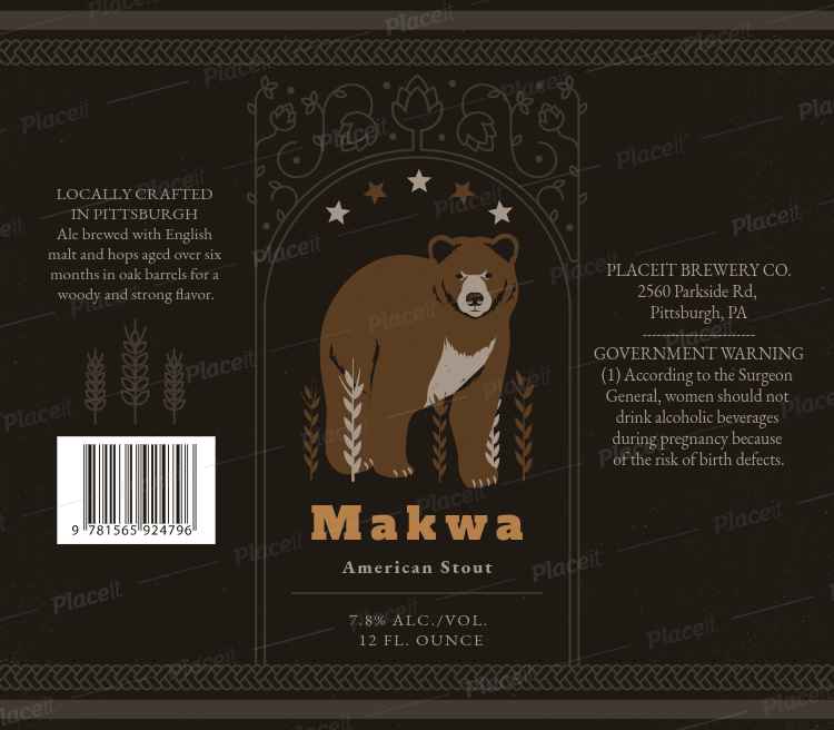 Stout Beer Label Design Template For Beers 768cForeground Image