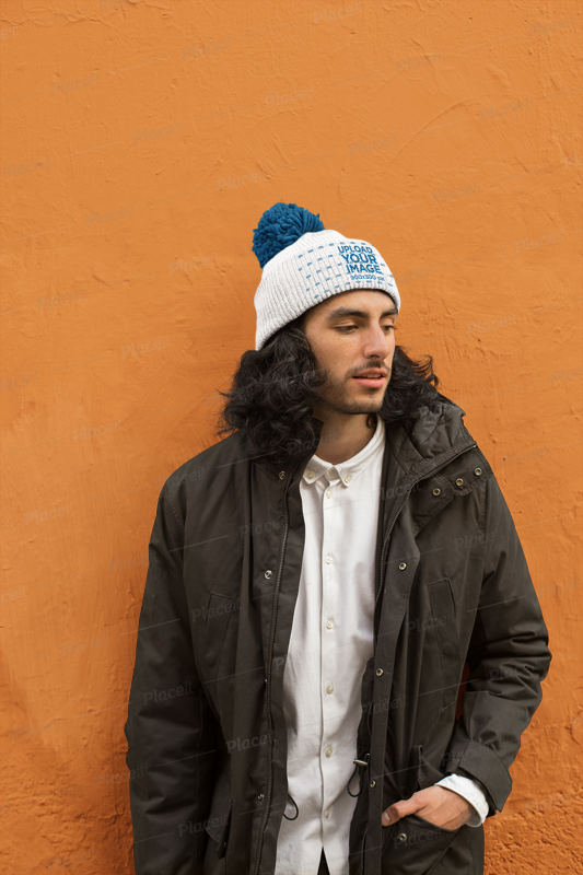 e9d83974614 Placeit - Beanie Mockup Featuring a Man Wearing a Winter Jacket