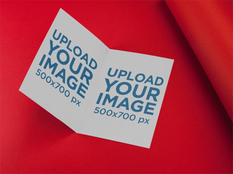 Placeit Bifold Brochure Template Lying Open In A Red Room - Bifold brochure template