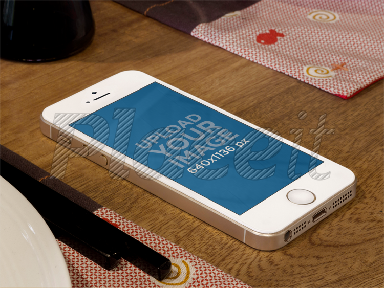 Placeit Mockups Tool Gold Iphone On Restaurant Table