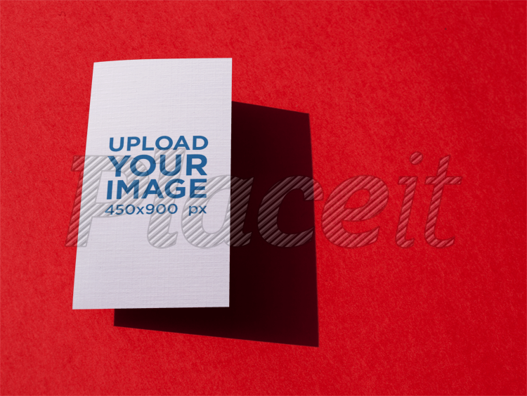 Placeit Vertical Business Card Template Floating Over A Red Surface - Vertical business card template
