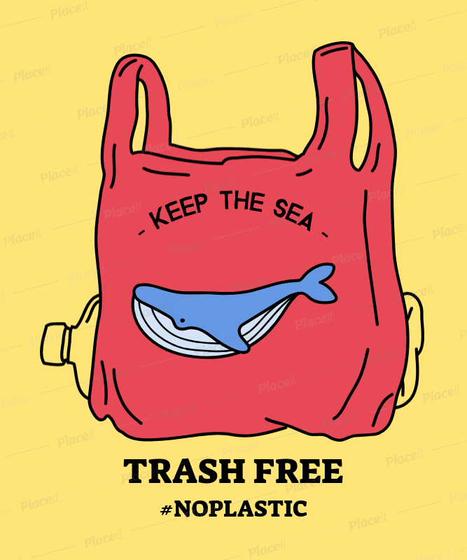environmental awareness t shirt design maker featuring a whale in a plastic bag