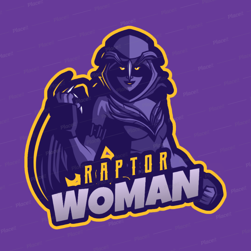 Fortnite Inspired Gaming Logo Template Featuring A Dark Female Warrior With Wings 2399c 2407