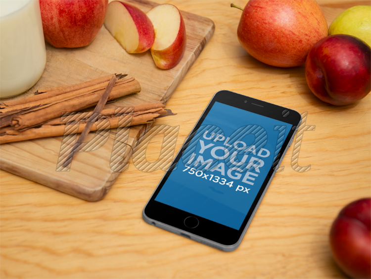 Placeit Iphone Mock Up Template Of Black Iphone 6 On A Cooking Table