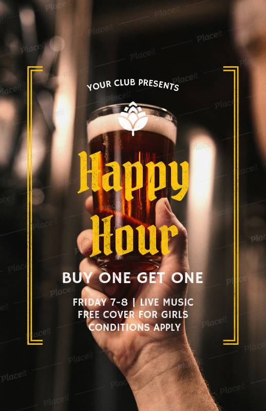 placeit online flyer maker for happy hour flyers