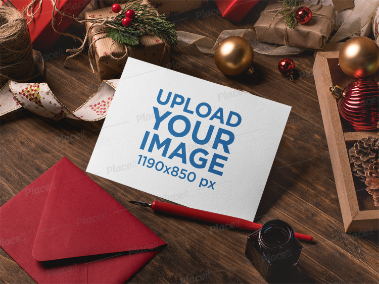 Placeit - Mockup of an Xmas Greeting Card Surrounded by Christmas ...