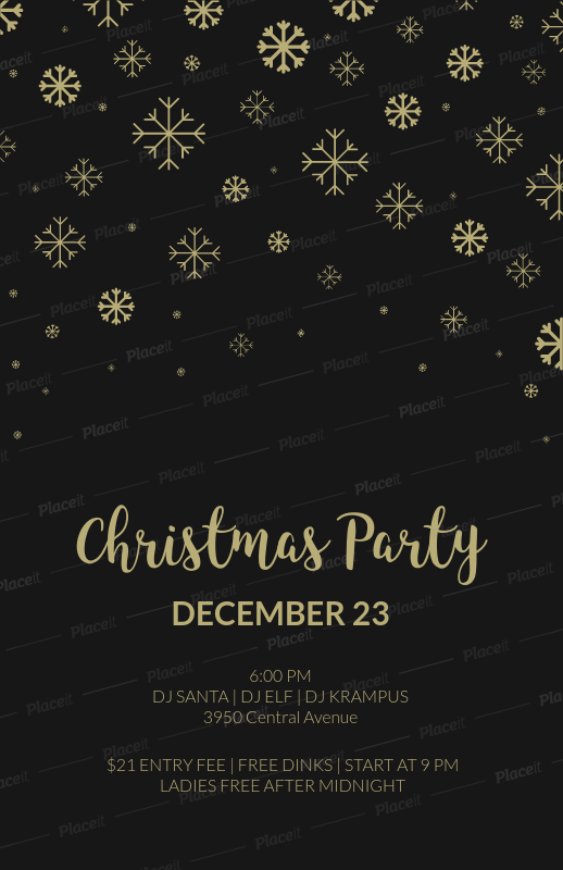 placeit christmas party flyer template in black and gold