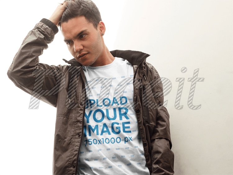Placeit T Shirt Mockup Featuring A Young Man In A Leather Jacket