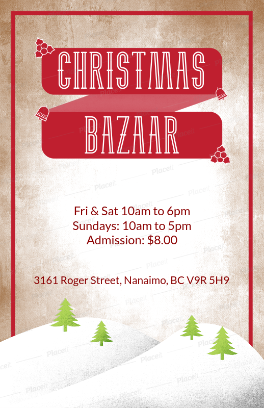 christmas flyer template for a holiday bazaar with winter landscape illustration 867foreground image