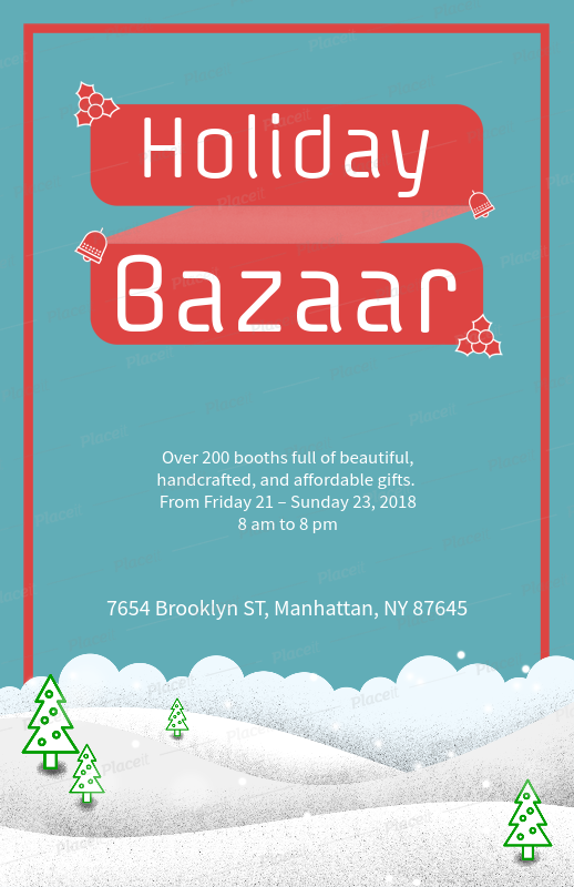 simple christmas flyer generator for a holiday bazaar 867eforeground image