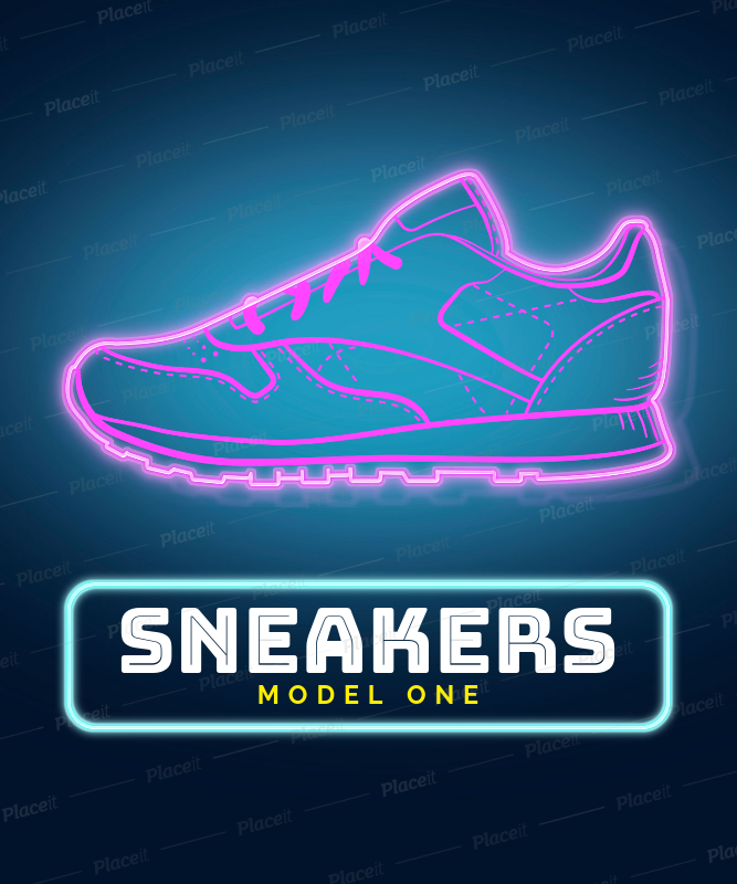 Neon T Shirt Design Template With Sneaker Images