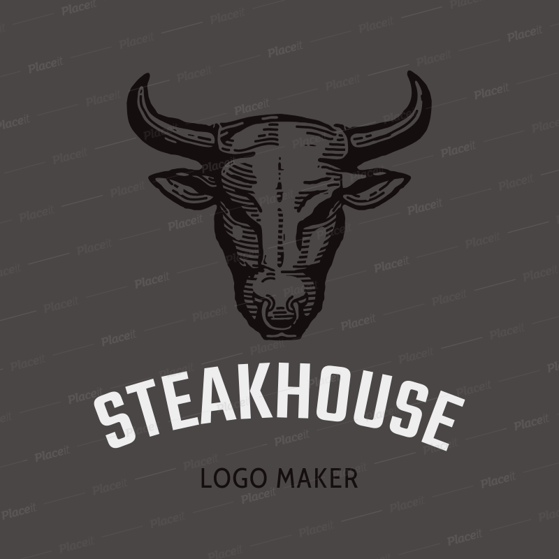 84dbd7f63f8b4 Placeit - Online Logo Maker for a Steak House with Bull Clipart