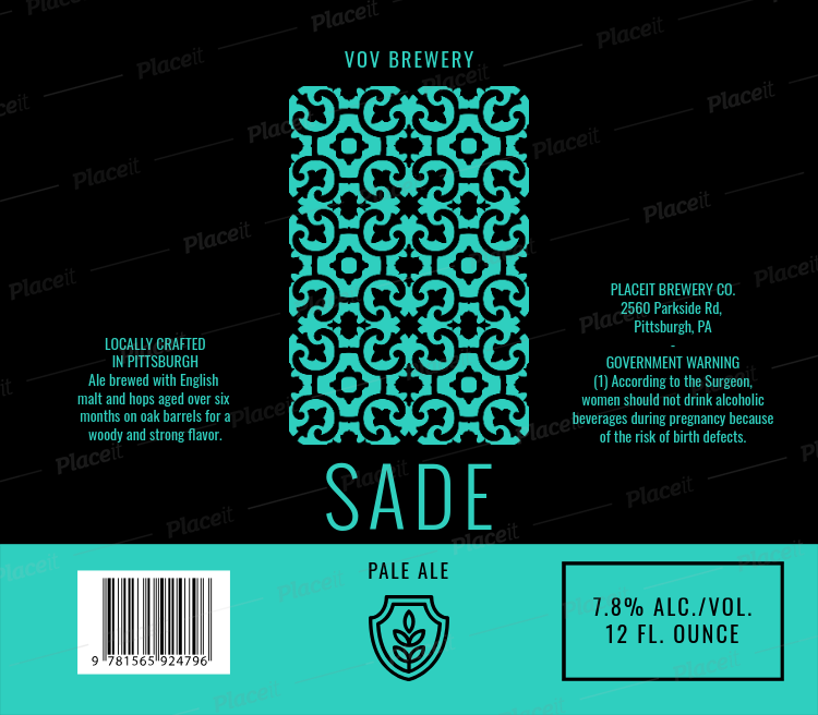 Beer Label Design Template With Patterned Graphic 773Foreground Image