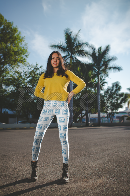 9a77e825c5 Placeit - Leggings Mockup of a Woman Wearing a Yellow Sweater on the ...