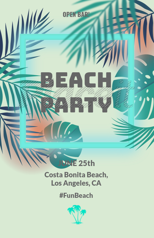 placeit online flyer maker for a beach party tropical theme