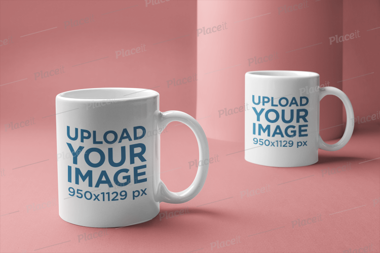 Of A 22368 Two Mugs Mockup Coffee Placed On Background Minimal wO0knP