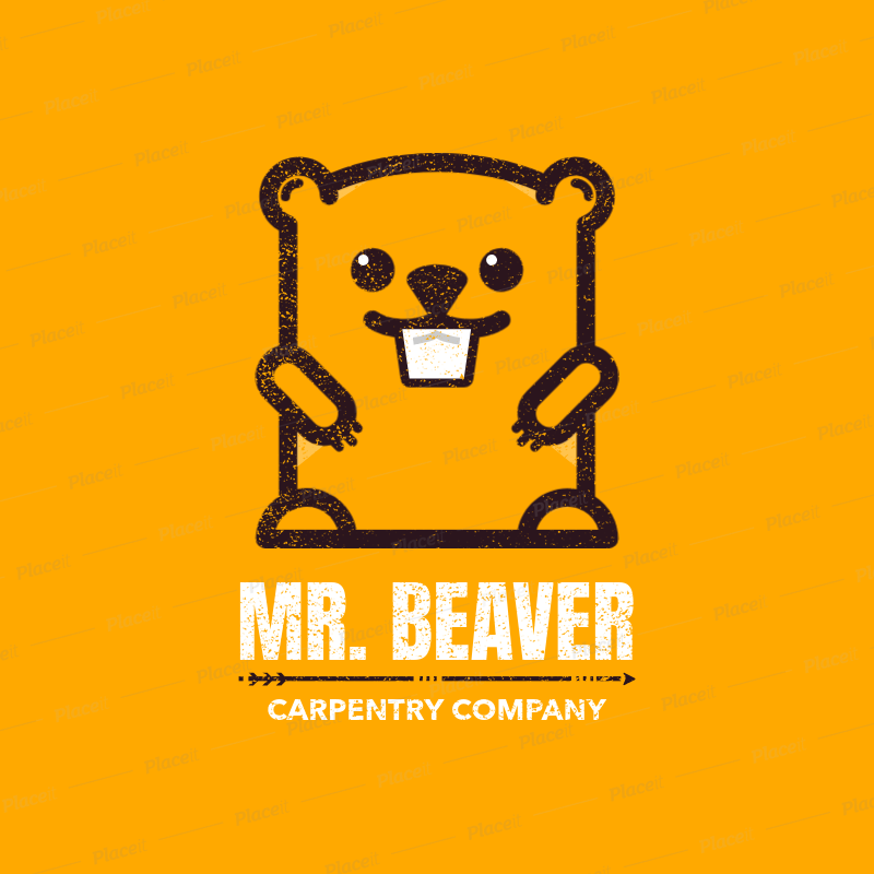 Placeit Carpentry Logo Template With Beaver Graphic