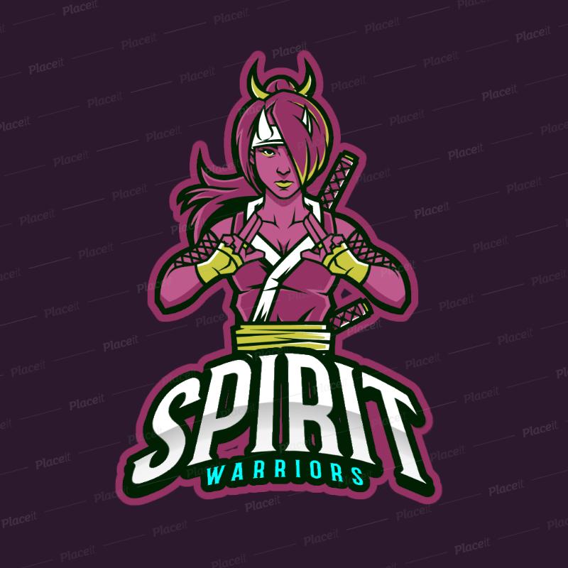 Gaming Logo Generator Featuring a Female Japanese Warrior 383u-2319