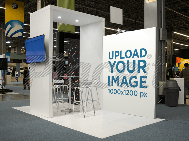 Exhibition Stand Design Mockup Free : Blank indoor trade exhibition booth with counter vector image