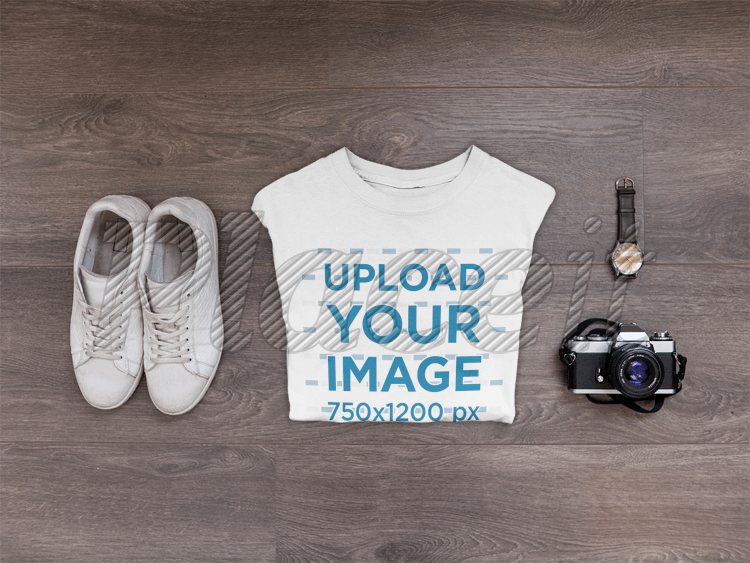1e08ae7d5ca00 Placeit - Mockup of a T-Shirt Lying Folded Next to Shoes and Accessories