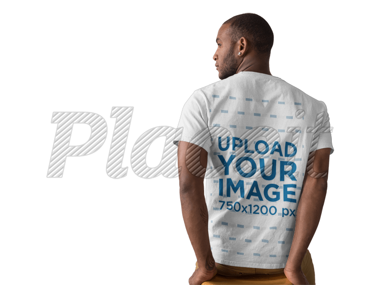 placeit back of a black man wearing a round neck tee mockup facing