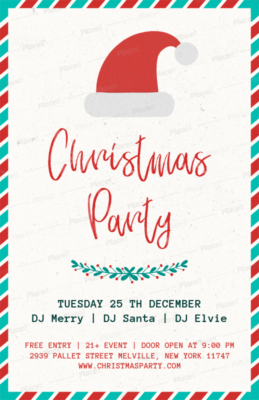Christmas Party Flyer Template.Christmas Party Flyer Template With A Santa Hat Illustration 843