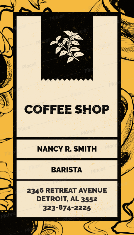 Placeit Vertical Business Card Creator For Coffee Shops