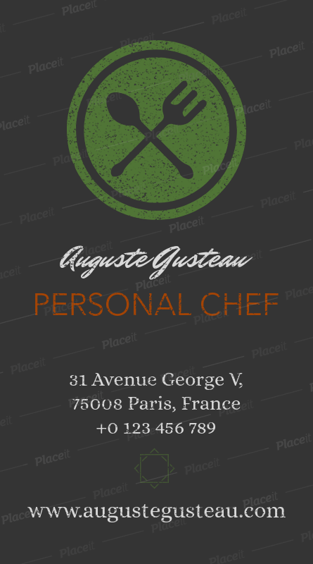 Placeit Vertical Catering Business Card Template
